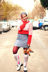 Evilish Queeny - No Brand Pink And Red Sweater, Zara Silver Glitter Dress, H&M Plushie Deer Purse - Bambi Number 2