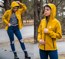 Carolyn W - Topo Designs Yellow, Saint James Striped, Femme Luxe Ripped, Jeffrey Campbell Shoes Rainboot - Rainy Day