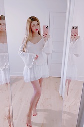 Shelly G - Forever 21 White Top, Zara White Skirt - White Tulip Sleeve