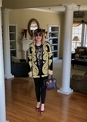 Shannon D - For Love & Lemons Velvet Embroidered Jacket, Chloé Sunglasses, Vintage T Shirt, Hermès Bag, Michael Kors Heels - Happy Easter