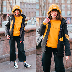 Christina & Karina Vartanovy - Rosegal Yellow Plush Bucket Hat, Gamiss Black Hooded Padded Jacket, Rosegal Yellow Fleece Sweatshirt, Zara Black Wide Leg Jeans, Converse Chuck Taylor All Star Hi Black Trainers - Christina // brightside
