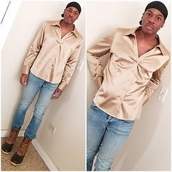 Thomas G - Khombu Lauren Duck Boots, Levi's 547 Strauss & Co, New York & Co Satin Blouse, Durag - Durag | Satin blouse | Jeans | Boots