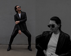 Wyatt Morgan - Weekday Sunglasses, Zara Leather Blazer, Asos Heeled Boots, Cos Fitted White Tee - 04 04