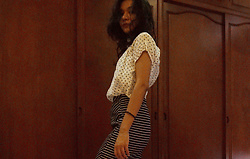 Shanaz AL - Dotted Buttoned Shirt, Striped Pencil Skirt - Dotted & Lined
