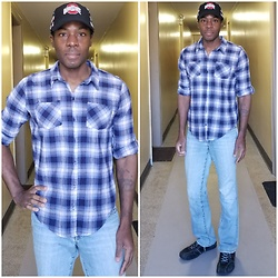 Thomas G - Ml Caps Ohio State Buckeyes Hat, Zac & Rachel Plaid Shirt, Lucky Brand Light Denim Jeans, Perry Ellis Portfolio Shoes - Cap | Plaid shirt | Denim jeans