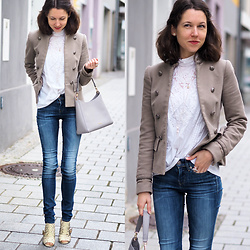 Claire H - Zara Blazer, Vintage Blouse (Very Old, From My Mum), Furla Hobo Bag, Högl Peeptoes, G Star Raw 3301 Jeans - Happy Easter