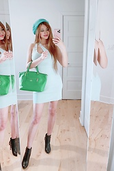 Shelly G - Guess Mint Dress, Coach Bag, Michael Kors Boots - Mint Green