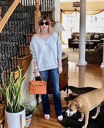Shannon D - Spiritual Gangster Off Shoulder Sweatshirt, Gucci Sunglasses, Seven For All Mankind Jeans, Hermès Bag, Sophia Webster Sandals - Spring Fever
