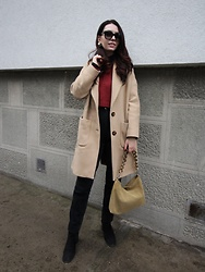 Jelena - Zara Camel Coat, Asos Ankle Boots, Saint Laurent Black Sunglasses - Cord pants