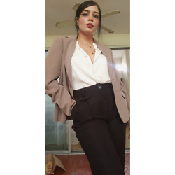 Sarah - Vintage Shirt, Shein Black Pants, Vintage Blazer - Dark Academia Attempt