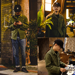 John Kuo - Namiman X New Eras Heritage Cap, Vine And Crane Vintage Army Shirt, Levis Vintage Clothing 1954z 501 - Fake Army Boy