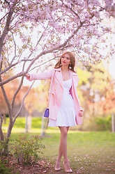 Shelly G - Guess Pink Trench Coat, Guess White Dress, Furla Bag, Aldo Heels - Cherry Blossom Season