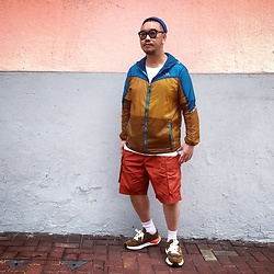 Mannix Lo - Patchwork Windbreaker, Gu Cargo Shorts, Miharayasuhiro X Nigel Cabourn Sneakers - Find the light in everything