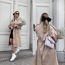 Zuza - Bershka Boots, Mango Trench Coat, H&M Bow, Guess Bag - Back on the spring