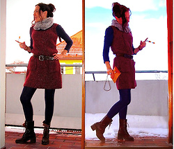 Nikolatina - Indiska Knitted Dress, Vintage Leather Belt, Pierre Roberts Leggings, Gap Oxford Boots -  Play into hands