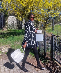 PAMELA - Zara Cow Print Coat, Macy's Slingbacks, Prada White Purse - In Black & White with Cow Print
