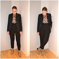 Mucha Lucha - Second Hand Shirt, Stradivarius Sweater Vest, Second Hand Blazer, Second Hand Belt, H&M Trousers, Monki Boots - Black suit