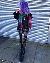Kimi Peri - Colorful Scarf, Pull & Bear Chessboard Tights, Chunky Boots, Uniwigs Purple Hair, Pull & Bear Grey Velvet Sweater, Romwe Plaid Skirt, Vii & Co. Leatherjacket - Kawaii & Grunge 💕