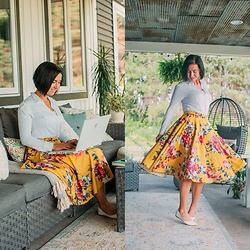 Lindsey Puls - Anatomie Top, Modcloth Midi Skirt - Working + Twirling Skirt