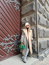 Joicy Muniz - Lack Of Colour Hat, Munthe Coat, Bottega Veneta Bag, Public Desire Boots - A pop of Green