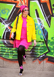 Evilish Queeny - Missguided Pink Tulle Dress, Second Hand Mustard Jacket - Hot pink and Mustard