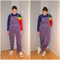 Mucha Lucha - Boohoo Jumper, Monki Overalls, Nike Sneakers - Overalls and rainbows