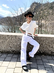 Anna Borisovna - Isabel Marant Shirt, Ruslan Baginskiy Hat, Mango Denim Pants, Birkenstock Shoes - The White Shirt