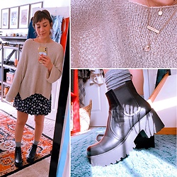 Samantha Rydin - Princess Polly Chunky Platform Boots, Forever 21 Floral Dress, Vici Sweater - 90s Baby