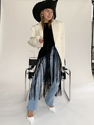 Anna Borisovna - H&M Hat, H&M Blazer, Arket Top, Levis Denim Jeans, Prada Shoes - The black hat