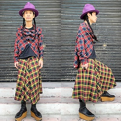 @KiD - Vivienne Westwood Mountain Hat, Nippon Checked Shirts, Nippon Checked Skirts, Vivienne Westwood Rockin Horse Boots - JapaneseTrash646