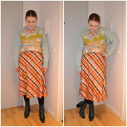 Mucha Lucha - Second Hand Necklace, Zara Jumper, Monki Skirt, Topshop Boots - Mix of colours and prints