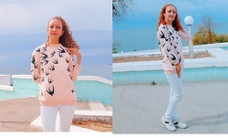 Galina K - Shein Sweatshirt, Promod Jeans - Pink sweatshirt with birds