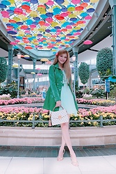 Shelly G - Bebe Green Jacket, Bebe Mint Dress, Louis Vuitton White Bag, Michael Kors Gold Heels - Green Spring Jacket