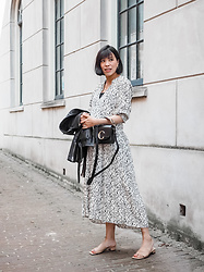 Vivian Tse - Zara Floral Dress, Chloé Bag, All Saints Leather Jacket, H&M Mules - My favourite non-maternity dress