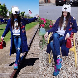 Ming Francis - Miss Sixty High Waist Jeans, New Balance Sneakers, Gucci Floral Tote, Ralph Lauren Bear Sweatshirt, Coca Cola Bear Hat, Sweater Jacket - A Half Day Train Trip