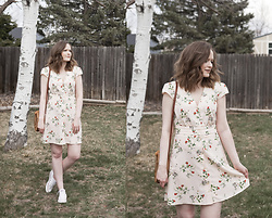 Emily S. - Topshop Floral Midi Dress, Converse Sneakers, Woven Bag - Garden Party