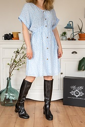 Hasche - Acquo Of Sweden Heeled Wellies, Zara Petite Dress - 70s wellies with Zara Petite dress