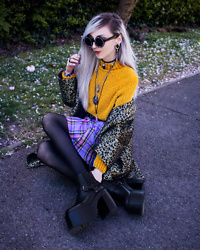 Kimi Peri - Witch Symbol Glasses, Vintage Leo Print Coat, Romwe Purple Plaid Skirt, Kaltur Gwen Boots, Black Tights, Solrayz Necklaces, Ghibli Choker, Vintage Mustard Yellow Chenille Sweater - Yellow & Purple Vintage 💛💜