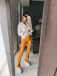 Mariana Garza - Adidas Sneakers, Zara Pants - A happy shade of yellow
