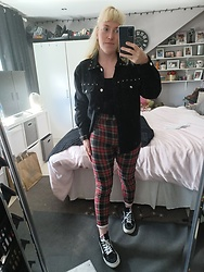 Beverley Bowen - Primark Denim Shirt, Primark Trousers, Vans Shoes, H&M Cropped Vest - Tartan