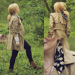 Anca Varsandan - Zara Trench, Mango Boots, Primark Jeans, Zara Letter A Necklace, Ccc Daisy Print Hair Scarf - Daisies