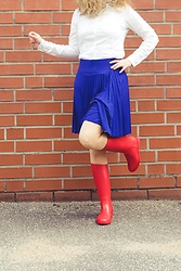Hasche - Méduse Meduse Wellies, Anna Field Petite Skirt - Sailor Moon inspired rainy day outfit