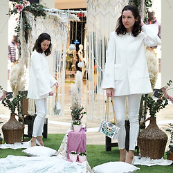 Claire H - Zara White Coat, Zara White Skinny Pants, Tory Burch Bag - Bohemian Fairytale