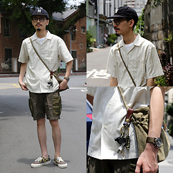 John Kuo - Hender Scheme Bag, Shortpantseveryday Military Shorts, Vans Vault Sneakers - Too Hot to Wear