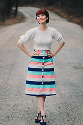 Bleu Avenue - Collectif Dressed With Whimsy Pencil Skirt, Forever 21 Pointelle Sweater - Sweaters and Stripes