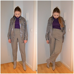 Mucha Lucha - H&M Shirt, Second Hand Roll Neck Top, Second Hand Trousers, H&M Boots - Sparkly Monday