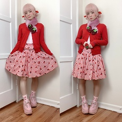 Lovely Blasphemy - Milk Red Cardigan, Swimmer Strawberry Scarf, Candy Stripper Gingham Cherry Skirt, 6%Dokidoki Strawberry Ring, Fifa Pink Platform Sneakers - Strawberry