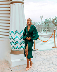 Iféoluwa Anani - House Of Cb Green Silk Wrap Dress, Nine West Happy Sling Heels - Emerald Queen