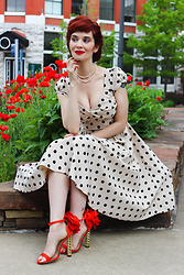 Bleu Avenue - Stop Staring Polka Dot Dress, Red Suede Chunky Heels Sandals Open Toe Ankle Strap Sandals With Flowers - Rosette Heels