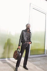 Jon The Gold - H&M Black Leather Jacket - Leopard Man Bag
